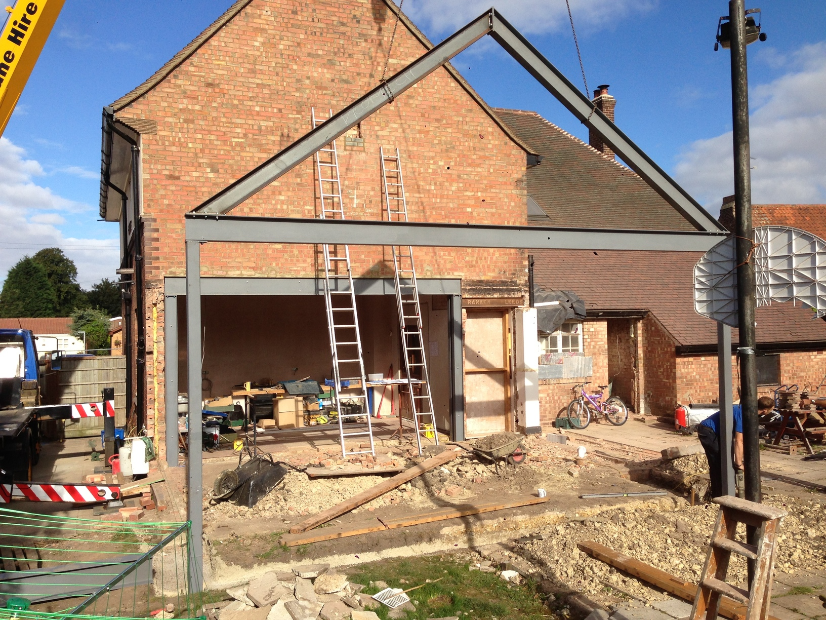 Steel Frame Work : Steel picture frame and support for large extension